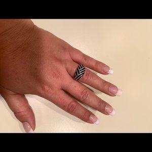 Sterling Silver Black Enamel Fashion Ring